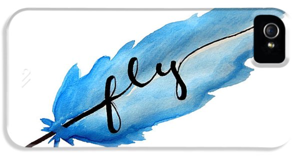 Fly Watercolor Feather Horizontal IPhone 5 / 5s Case by Michelle Eshleman