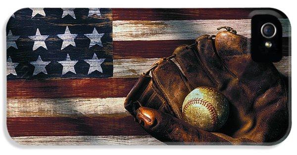 Folk Art American Flag And Baseball Mitt IPhone 5 / 5s Case by Garry Gay