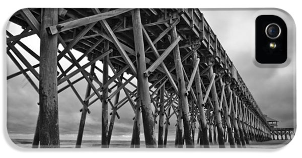 Pier iPhone 5 Cases - Folly Beach Pier Black and White iPhone 5 Case by Dustin K Ryan