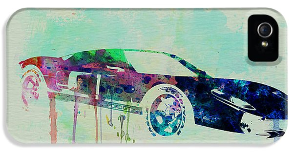 Muscle Car iPhone 5 Cases - Ford GT Watercolor 2 iPhone 5 Case by Naxart Studio