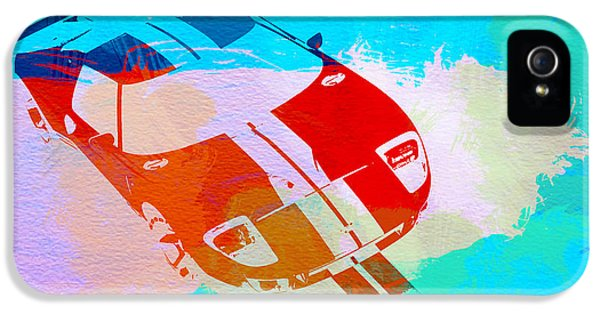 Muscle Car iPhone 5 Cases - Ford GT Watercolor  iPhone 5 Case by Naxart Studio