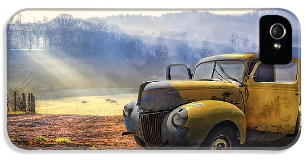 Car iPhone 5 Cases - Ford in the Fog iPhone 5 Case by Debra and Dave Vanderlaan