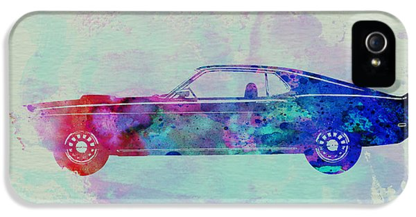 Ford Classic Car iPhone 5 Cases - Ford Mustang Watercolor 1 iPhone 5 Case by Naxart Studio