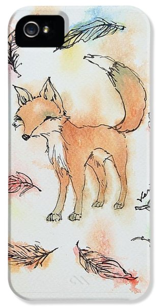 Fox iPhone 5 Cases - Fox and feathers iPhone 5 Case by Venie Tee