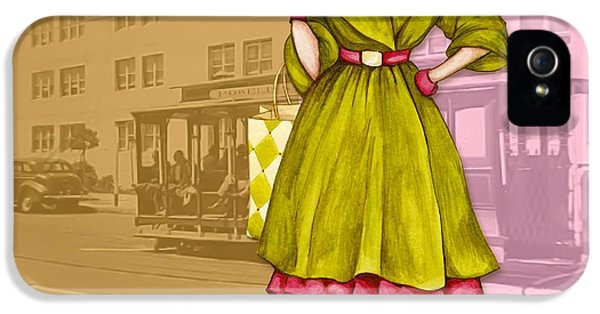 Vintage Car iPhone 5 Cases - Frisco in the Fifties Shopping at I Magnin iPhone 5 Case by Cindy Garber Iverson