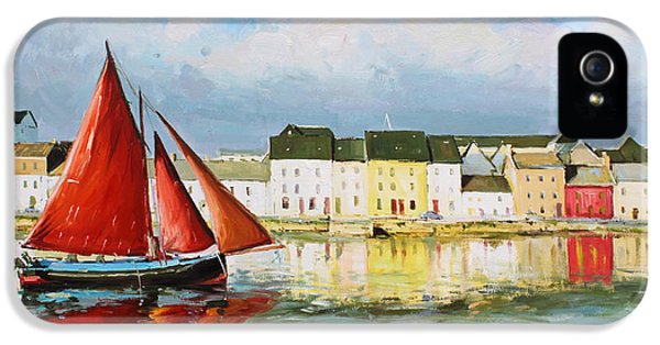 Harbour iPhone 5 Cases - Galway Hooker Leaving Port iPhone 5 Case by Conor McGuire