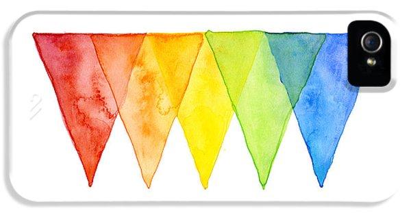 Geometric iPhone 5 Cases - Geometric Watercolor Pattern Rainbow Triangles iPhone 5 Case by Olga Shvartsur