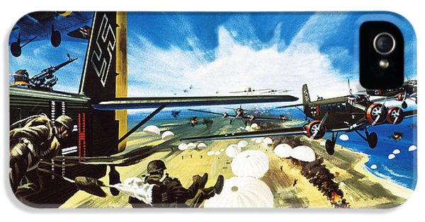 German Paratroopers Landing On Crete During World War Two IPhone 5 / 5s Case by Wilf Hardy