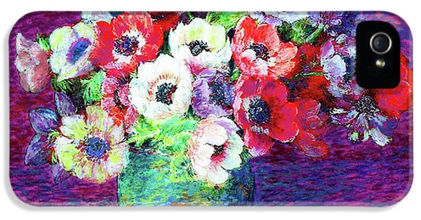 Gift Of Flowers, Red, Blue And White Anemone Poppies IPhone 5 / 5s Case by Jane Small