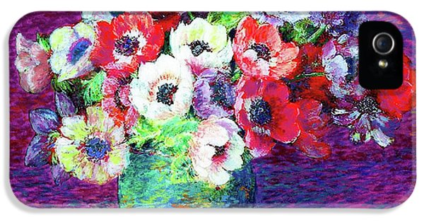 Flowering iPhone 5 Cases - Gift of Anemones iPhone 5 Case by Jane Small