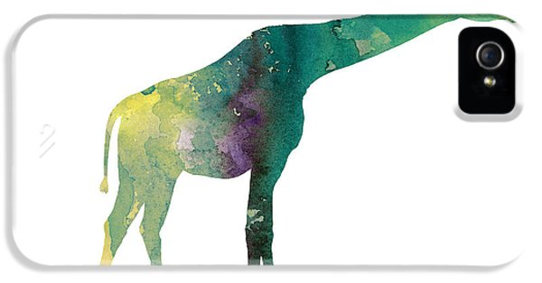 Giraffe Colorful Watercolor Painting IPhone 5 / 5s Case by Joanna Szmerdt