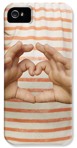 Caucasian iPhone 5 Cases - Girl Making Heart Shape With Fingers iPhone 5 Case by Ink and Main