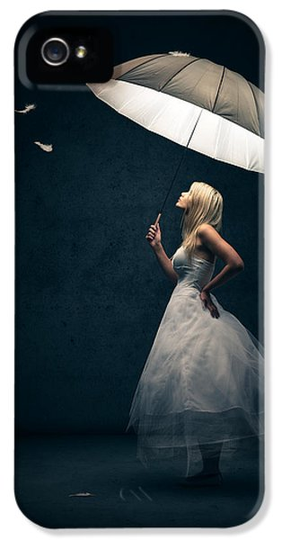 Girl With Umbrella And Falling Feathers IPhone 5 / 5s Case by Johan Swanepoel