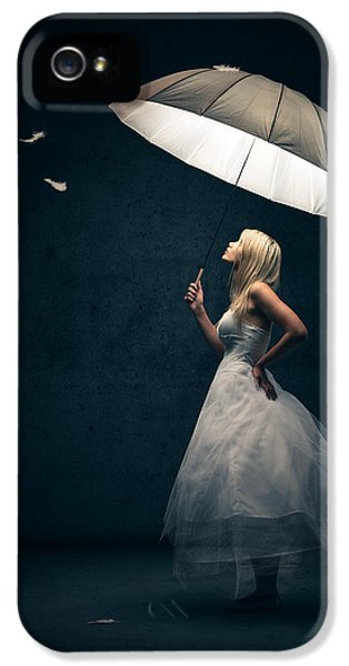 Romantic iPhone 5 Cases - Girl with umbrella and falling feathers iPhone 5 Case by Johan Swanepoel