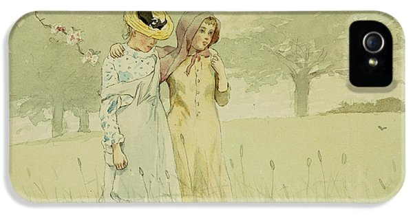 Meadow iPhone 5 Cases - Girls strolling in an Orchard iPhone 5 Case by Winslow Homer