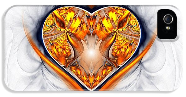 Fire iPhone 5 Cases - Gold and Sapphire Heart  iPhone 5 Case by Sandra Bauser Digital Art