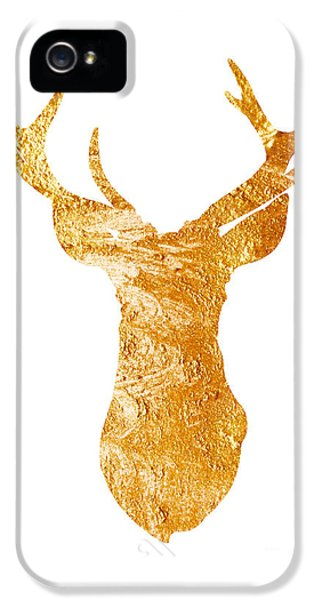 Gold Deer Silhouette Watercolor Art Print IPhone 5 / 5s Case by Joanna Szmerdt