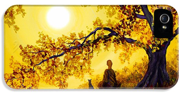 Zen iPhone 5 Cases - Golden Afternoon Meditation iPhone 5 Case by Laura Iverson