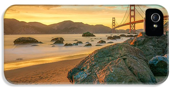 Gate iPhone 5 Cases - Golden Gate Sunset iPhone 5 Case by James Udall