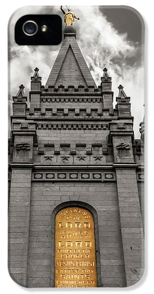Slc iPhone 5 Cases - Golden SLC Temple iPhone 5 Case by La Rae  Roberts