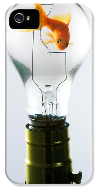 Light Bulb iPhone 5 Cases - Goldfish in light bulb  iPhone 5 Case by Garry Gay