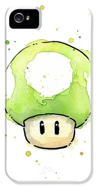 Video Game Art iPhone 5 Cases - Green 1UP Mushroom iPhone 5 Case by Olga Shvartsur