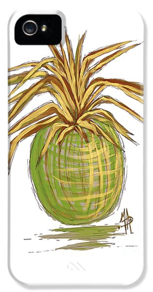 Green Gold Pineapple Painting Illustration Aroon Melane 2015 Collection By Madart IPhone 5 / 5s Case by Megan Duncanson