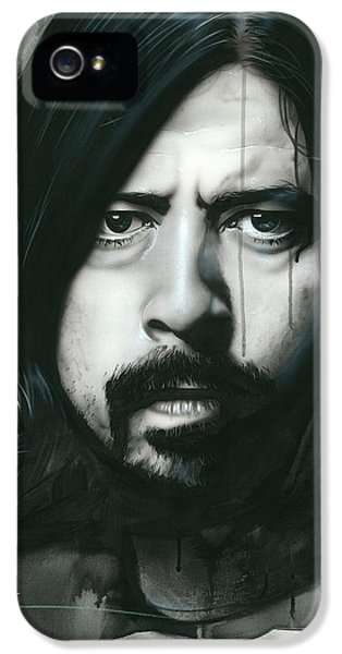 Dave Grohl iPhone 5 Cases - Grohl in Black iPhone 5 Case by Christian Chapman Art