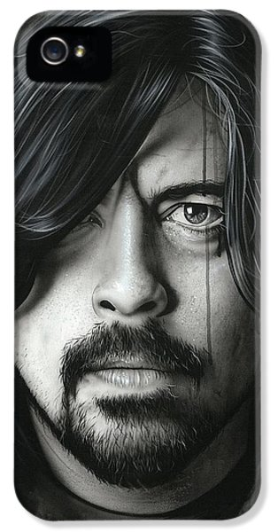 Dave Grohl iPhone 5 Cases - Grohl in Black II iPhone 5 Case by Christian Chapman Art
