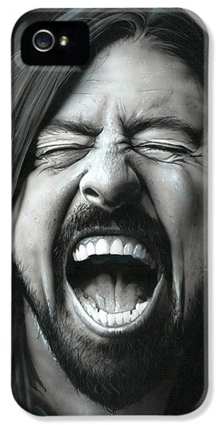 Dave Grohl iPhone 5 Cases - Grohl in Black III iPhone 5 Case by Christian Chapman Art