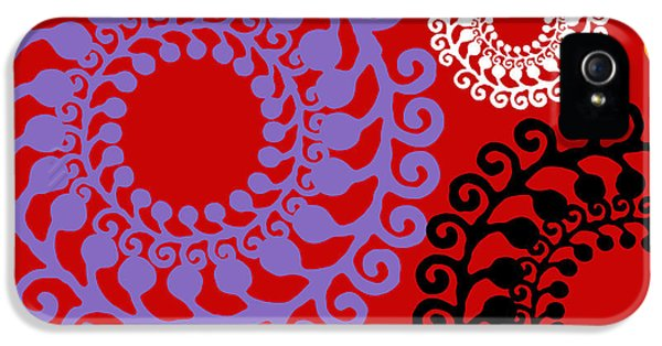Mid iPhone 5 Cases - Groovy Circles Red iPhone 5 Case by Mindy Sommers