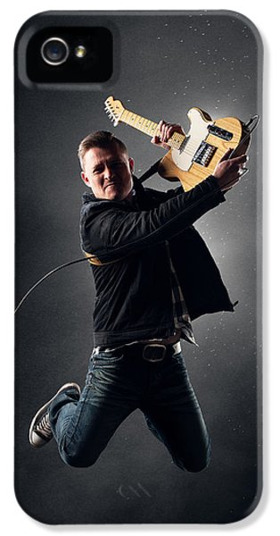 Backlight iPhone 5 Cases - Guitarist jumping high iPhone 5 Case by Johan Swanepoel