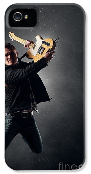 Backlight iPhone 5 Cases - Guitarist jumping on stage iPhone 5 Case by Johan Swanepoel