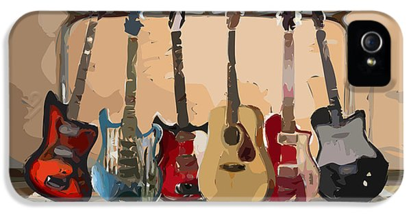 Musical iPhone 5 Cases - Guitars On A Rack iPhone 5 Case by Arline Wagner