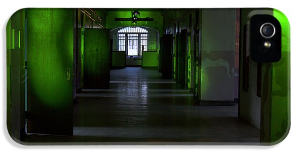 Lunacy iPhone 5 Cases - Hallway of abandoned building in green iPhone 5 Case by Karen Foley