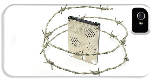 Firewall iPhone 5 Cases - Harddisk behind barbwire - illustration of data security concept iPhone 5 Case by Rasmus Ursem