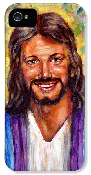 Jesus Smiling iPhone 5 Cases - He Smiles iPhone 5 Case by John Lautermilch