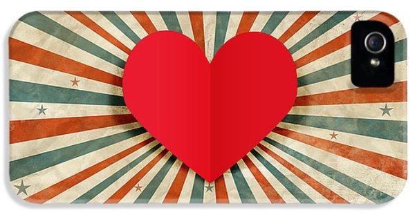 Heart With Ray Background IPhone 5 / 5s Case by Setsiri Silapasuwanchai
