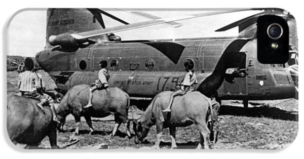 Helicopters And Water Buffalos IPhone 5 / 5s Case by Underwood Archives