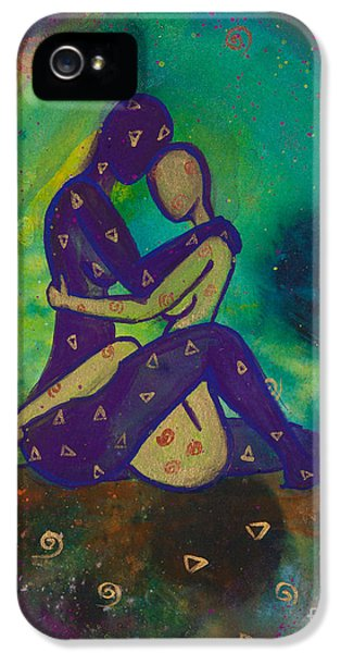 Gay Art iPhone 5 Cases - Her Loves Embrace Divine Love Series No. 1006 iPhone 5 Case by Ilisa  Millermoon