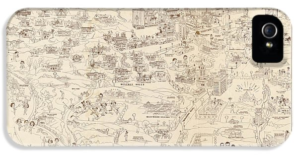 Hollywood Map To The Stars 1937 IPhone 5 / 5s Case by Don Boggs