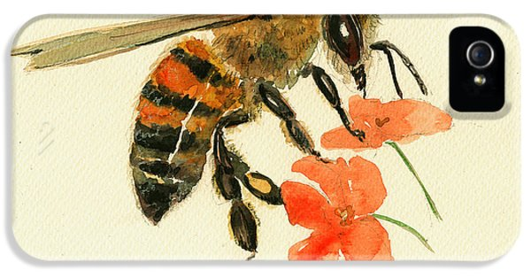 Honey Bee Watercolor Painting IPhone 5 / 5s Case by Juan  Bosco