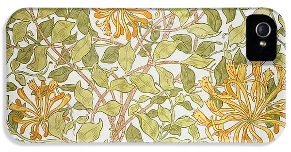 Arts And Crafts Movement iPhone 5 Cases - Honeysuckle design iPhone 5 Case by William Morris