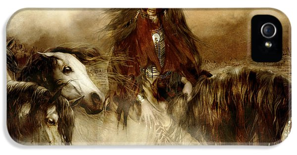 Native American Woman iPhone 5 Cases - Horse Spirit Guides iPhone 5 Case by Shanina Conway