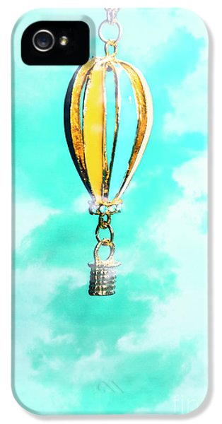 Hot Air Balloon Pendant Over Cloudy Background IPhone 5 / 5s Case by Jorgo Photography - Wall Art Gallery