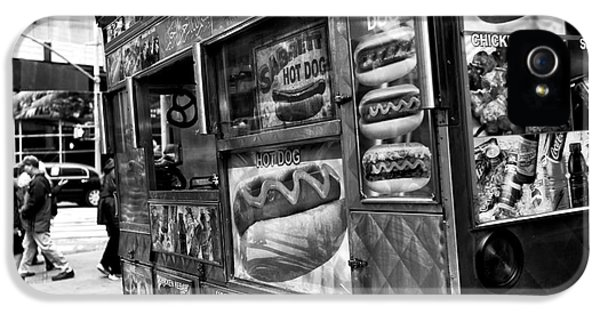 Hot Dog iPhone 5 Cases - Hot Dogs on the Corner in NYC mono iPhone 5 Case by John Rizzuto