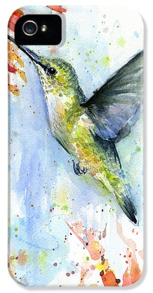 Hummingbird And Red Flower Watercolor IPhone 5 / 5s Case by Olga Shvartsur