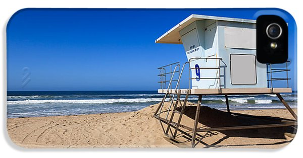 Shack iPhone 5 Cases - Huntington Beach Lifeguard Tower Photo iPhone 5 Case by Paul Velgos