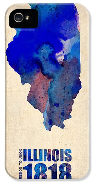 Illinois iPhone 5 Cases - Illinois Watercolor Map iPhone 5 Case by Naxart Studio