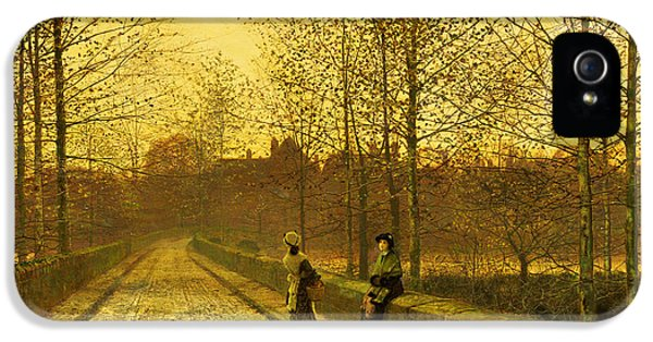 Road iPhone 5 Cases - In the Golden Gloaming iPhone 5 Case by John Atkinson Grimshaw